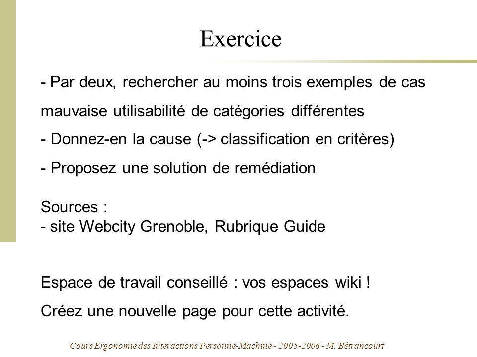 Cours Ergonomie des Interactions Personne-Machine - 2005-2006 - M. Bétrancourt Exercice - Par deux, rechercher au moins trois exemples de cas mauvaise