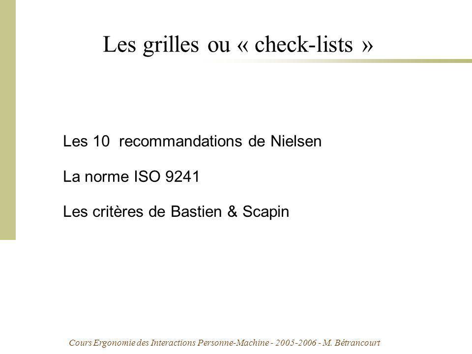 Cours Ergonomie des Interactions Personne-Machine - 2005-2006 - M. Bétrancourt Les grilles ou « check-lists » La norme ISO 9241 Les 10 recommandations