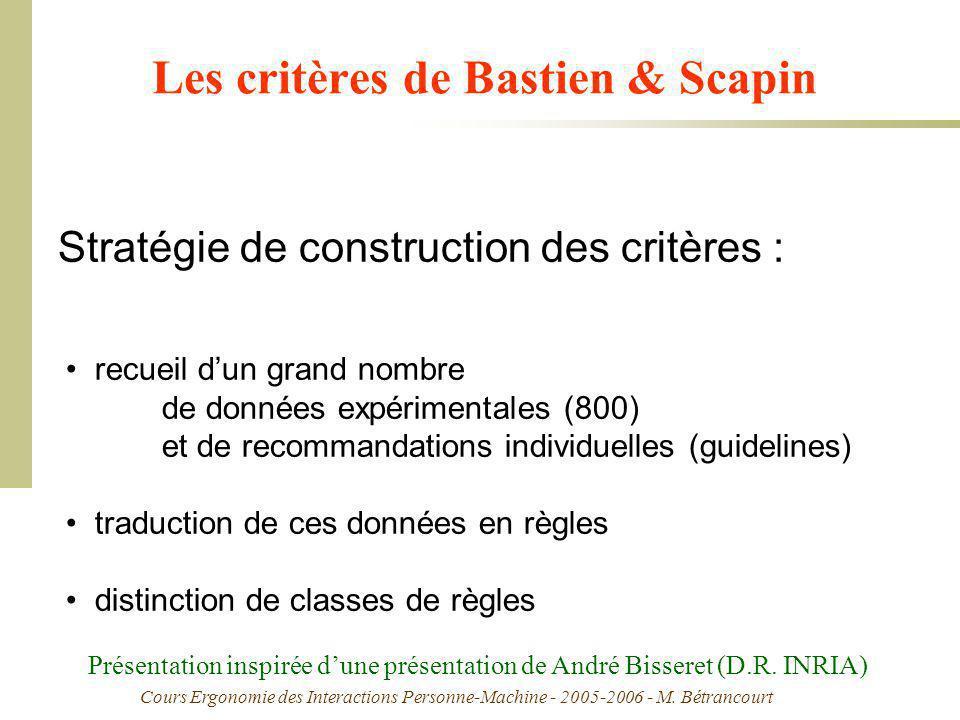 Cours Ergonomie des Interactions Personne-Machine - 2005-2006 - M. Bétrancourt Les critères de Bastien & Scapin recueil dun grand nombre de données ex