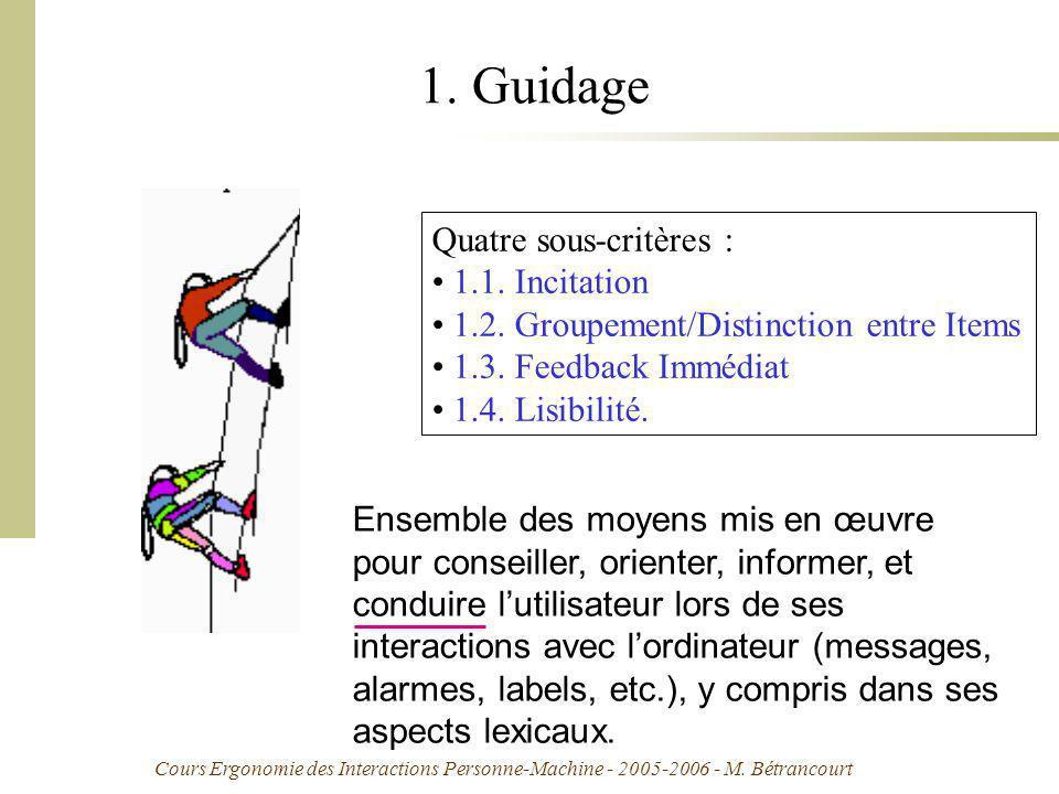 Cours Ergonomie des Interactions Personne-Machine - 2005-2006 - M. Bétrancourt 1. Guidage Quatre sous-critères : 1.1. Incitation 1.2. Groupement/Disti
