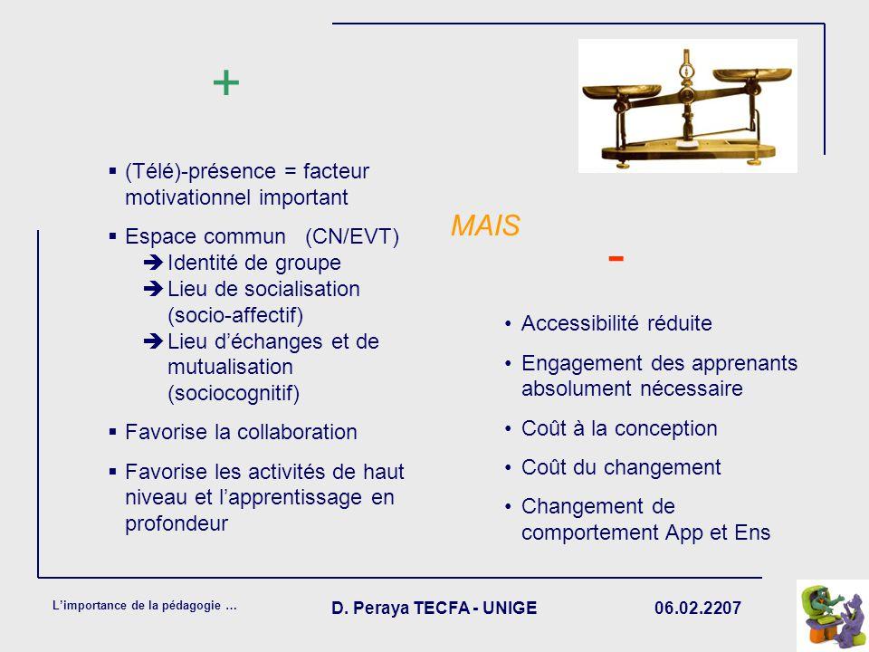 06.02.2207 Limportance de la pédagogie … D. Peraya TECFA - UNIGE (Télé)-présence = facteur motivationnel important Espace commun (CN/EVT) Identité de