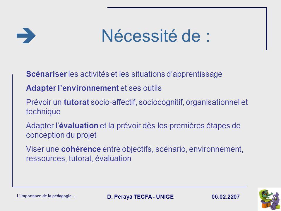 06.02.2207 Limportance de la pédagogie … D. Peraya TECFA - UNIGE Nécessité de : Scénariser les activités et les situations dapprentissage Adapter lenv