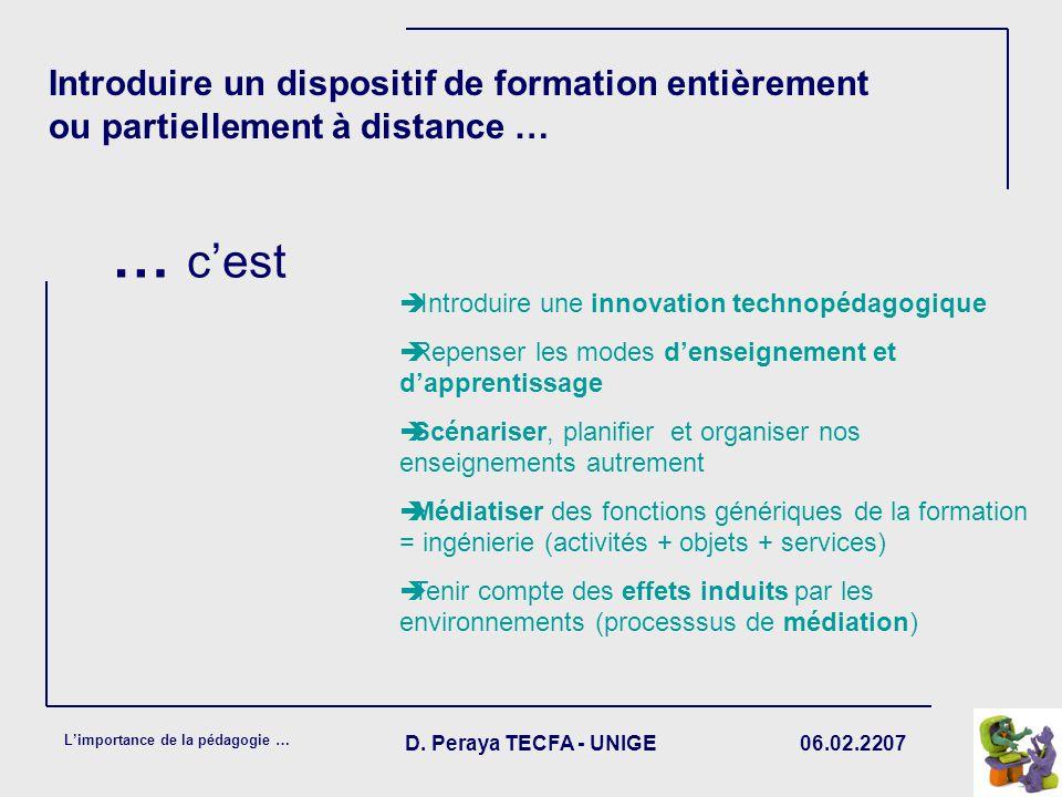 06.02.2207 Limportance de la pédagogie … D. Peraya TECFA - UNIGE Introduire un dispositif de formation entièrement ou partiellement à distance … Intro