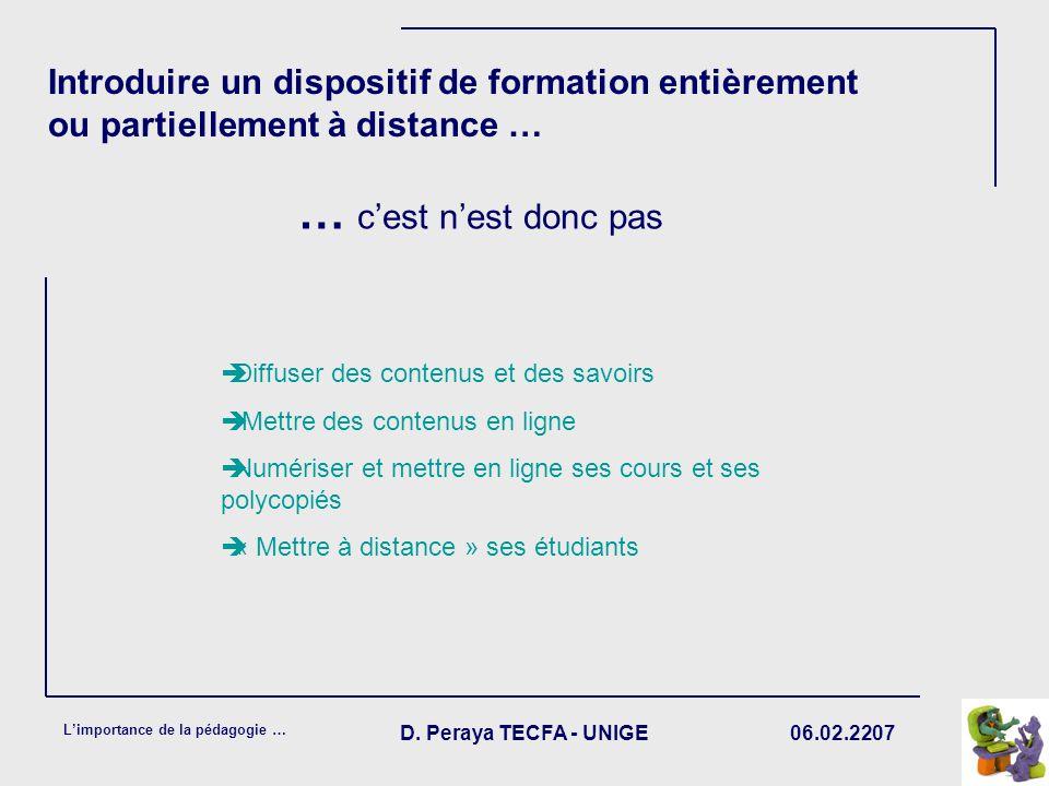 06.02.2207 Limportance de la pédagogie … D. Peraya TECFA - UNIGE Introduire un dispositif de formation entièrement ou partiellement à distance … Diffu