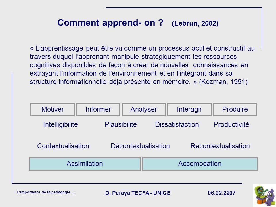 06.02.2207 Limportance de la pédagogie … D. Peraya TECFA - UNIGE Comment apprend- on ? (Lebrun, 2002) « Lapprentissage peut être vu comme un processus