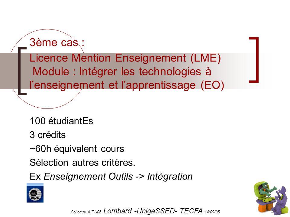 Colloque AIPU05 Lombard -UnigeSSED- TECFA 14/09/05 1 Licence Mention Enseignement (LME) Module : Intégrer les technologies à lenseignement et lapprentissage (EO) 100 étudiantEs 3 crédits ~60h équivalent cours Sélection autres critères.