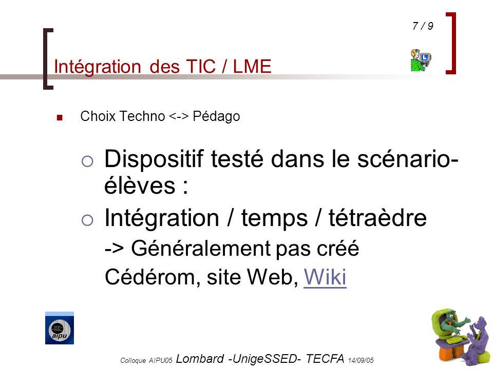 7 / 9 Colloque AIPU05 Lombard -UnigeSSED- TECFA 14/09/05 Intégration des TIC / LME Choix Techno Pédago Dispositif testé dans le scénario- élèves : Intégration / temps / tétraèdre -> Généralement pas créé Cédérom, site Web, WikiWiki