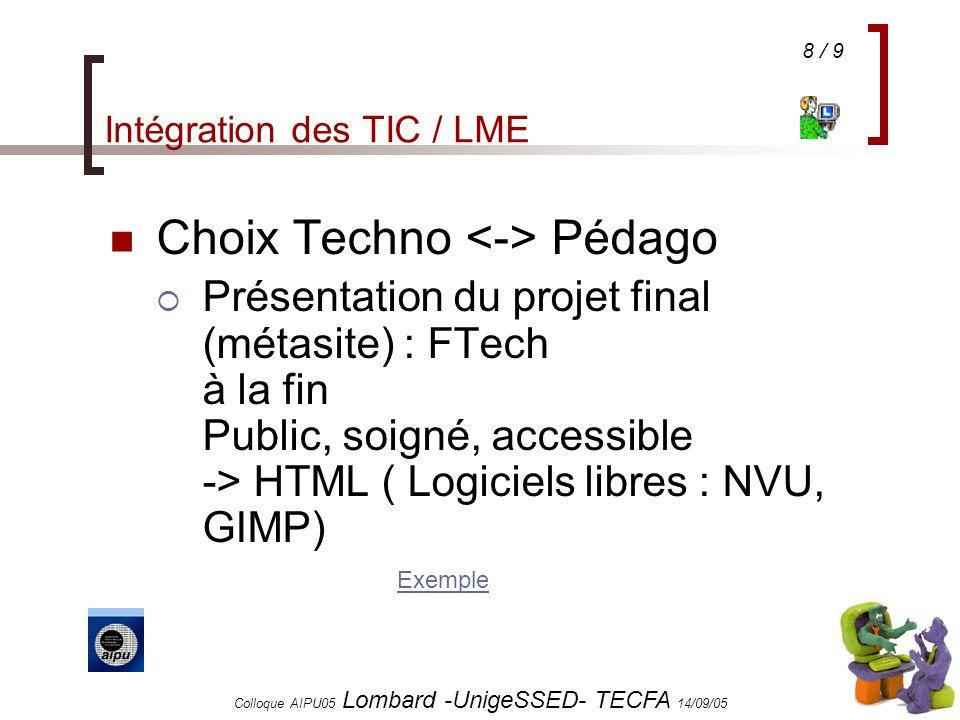 8 / 9 Colloque AIPU05 Lombard -UnigeSSED- TECFA 14/09/05 Intégration des TIC / LME Choix Techno Pédago Présentation du projet final (métasite) : FTech à la fin Public, soigné, accessible -> HTML ( Logiciels libres : NVU, GIMP) Exemple Exemple