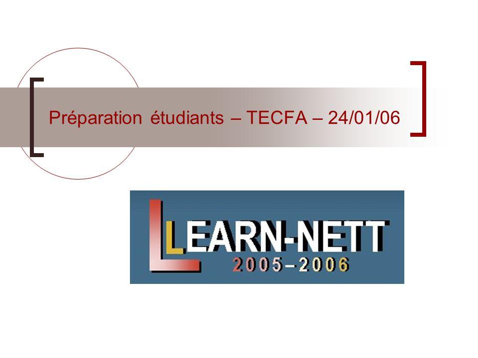 Learn-Nett - Préparation des étudiants 240106 – p.12 A faire pour la prochaine séance remplir votre profil étudiants avec les infos attendues : Voir panneau d affichage sur la plate- forme (re)lire le guide pédagogique et la présentation de la plate-forme pour s assurer de la compréhension générale