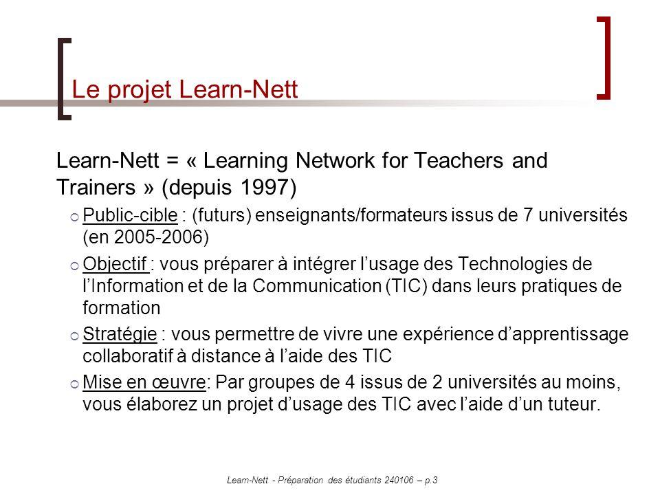 Learn-Nett - Préparation des étudiants 240106 – p.3 Le projet Learn-Nett Learn-Nett = « Learning Network for Teachers and Trainers » (depuis 1997) Public-cible : (futurs) enseignants/formateurs issus de 7 universités (en 2005-2006) Objectif : vous préparer à intégrer lusage des Technologies de lInformation et de la Communication (TIC) dans leurs pratiques de formation Stratégie : vous permettre de vivre une expérience dapprentissage collaboratif à distance à laide des TIC Mise en œuvre: Par groupes de 4 issus de 2 universités au moins, vous élaborez un projet dusage des TIC avec laide dun tuteur.