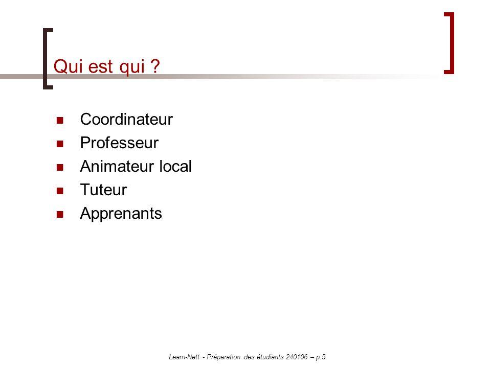 Learn-Nett - Préparation des étudiants 240106 – p.5 Qui est qui ? Coordinateur Professeur Animateur local Tuteur Apprenants