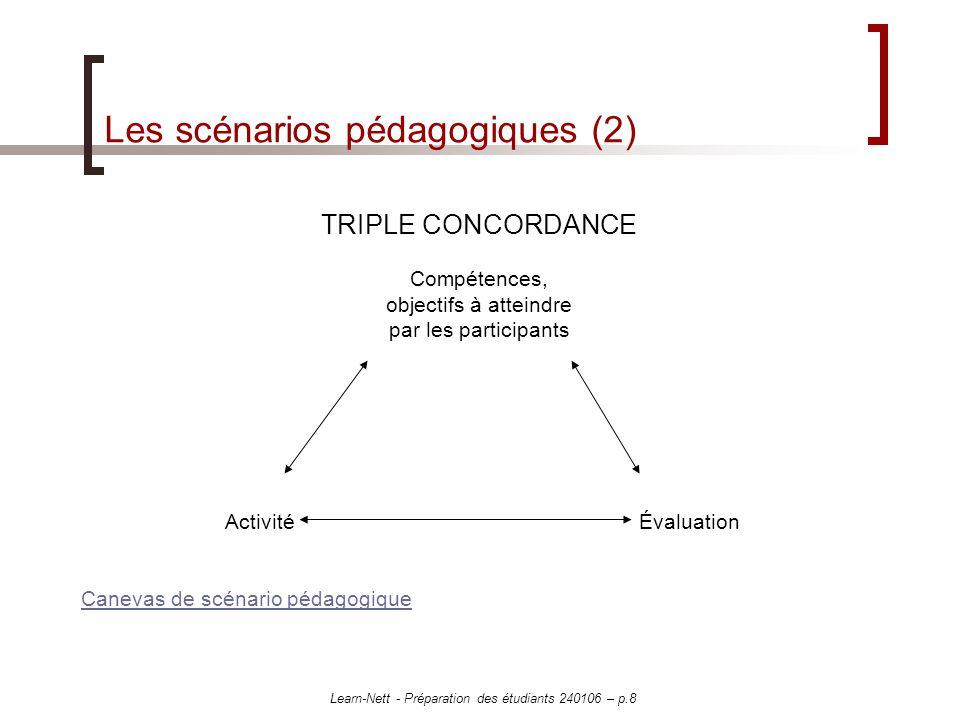 Learn-Nett - Préparation des étudiants 240106 – p.8 Les scénarios pédagogiques (2) TRIPLE CONCORDANCE Compétences, objectifs à atteindre par les participants Activité Évaluation Canevas de scénario pédagogique