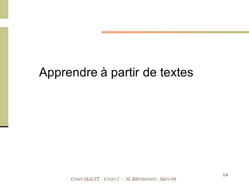 Cours MALTT - Cosys 2 - M. Bétrancourt - Mars 06 14 Apprendre à partir de textes