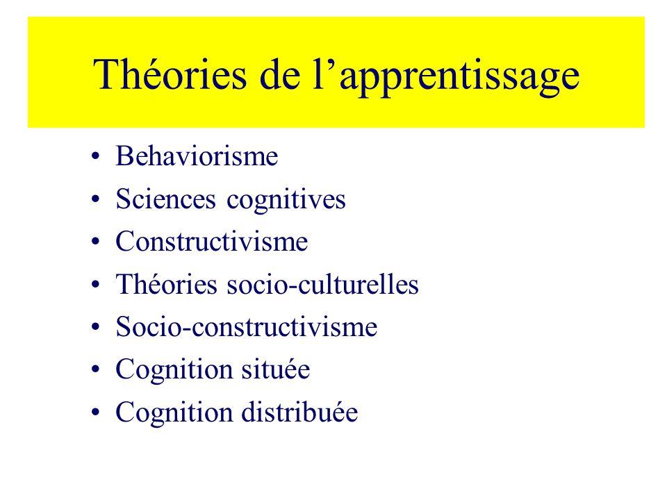 Théories de lapprentissage Behaviorisme Sciences cognitives Constructivisme Théories socio-culturelles Socio-constructivisme Cognition située Cognition distribuée