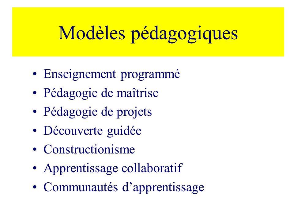Modèles pédagogiques Enseignement programmé Pédagogie de maîtrise Pédagogie de projets Découverte guidée Constructionisme Apprentissage collaboratif Communautés dapprentissage