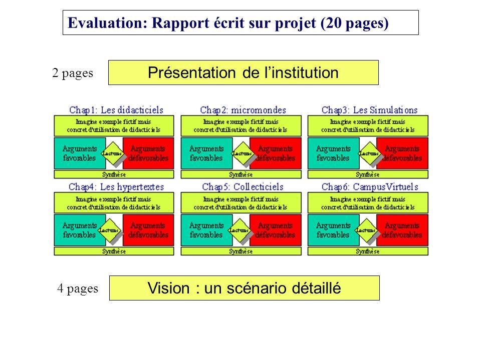 Evaluation: Rapport écrit sur projet (20 pages) Présentation de linstitution 2 pages Vision : un scénario détaillé 4 pages