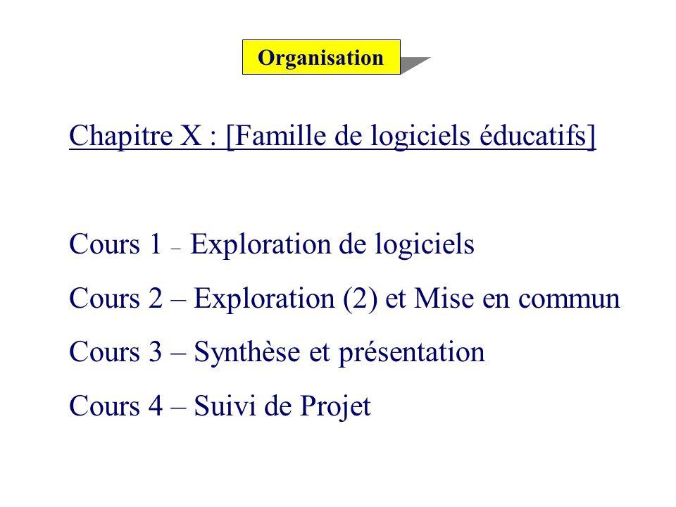 Organisation Chapitre X : [Famille de logiciels éducatifs] Cours 1 – Exploration de logiciels Cours 2 – Exploration (2) et Mise en commun Cours 3 – Synthèse et présentation Cours 4 – Suivi de Projet