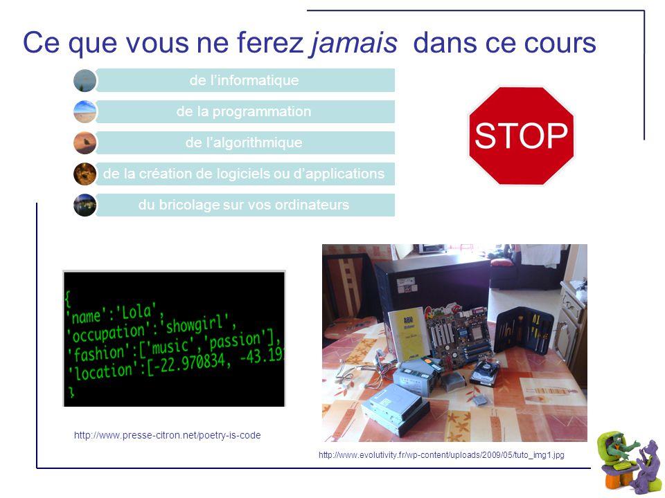 Ce que vous ne ferez jamais dans ce cours de linformatique de la programmation de lalgorithmique de la création de logiciels ou dapplications du bricolage sur vos ordinateurs http://www.evolutivity.fr/wp-content/uploads/2009/05/tuto_img1.jpg http://www.presse-citron.net/poetry-is-code
