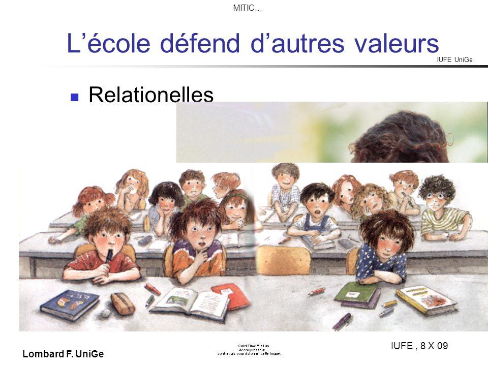 IUFE UniGe MITIC… IUFE, 8 X 09 Lombard F. UniGe Lécole défend dautres valeurs Relationelles
