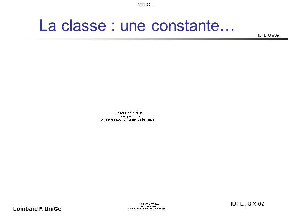 IUFE UniGe MITIC… IUFE, 8 X 09 Lombard F. UniGe La classe : une constante…