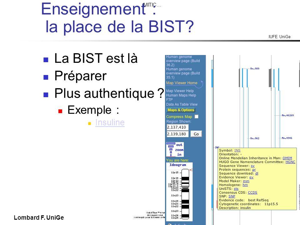IUFE UniGe MITIC… IUFE, 8 X 09 Lombard F. UniGe Enseignement : la place de la BIST.