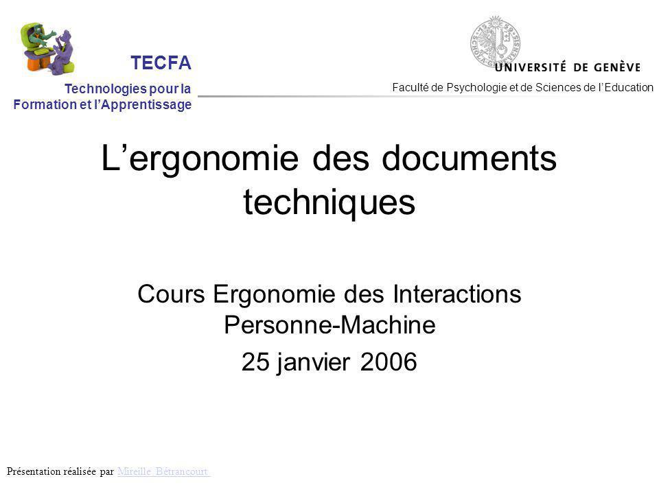 Recommandations ergonomiques Pour la conception de documents plus faciles à utiliser Pour lévaluation