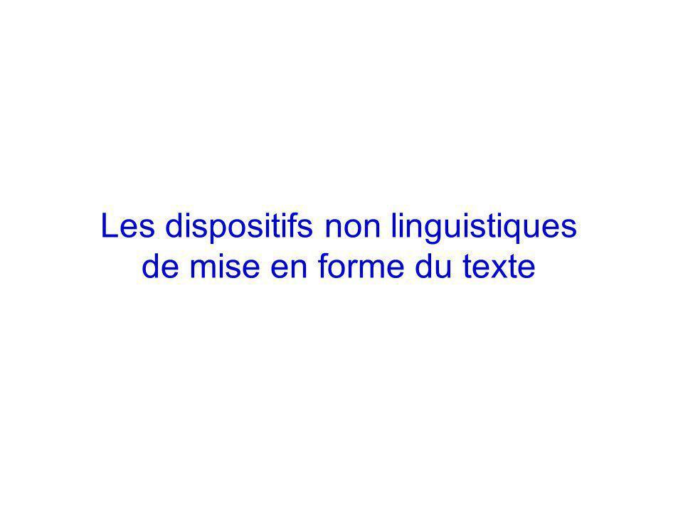 Les dispositifs non linguistiques de mise en forme du texte