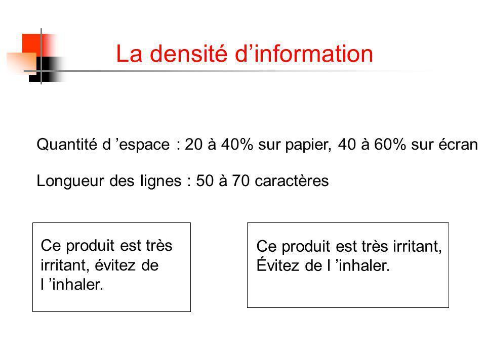 La densité dinformation Quantité d espace : 20 à 40% sur papier, 40 à 60% sur écran Longueur des lignes : 50 à 70 caractères Ce produit est très irritant, évitez de l inhaler.