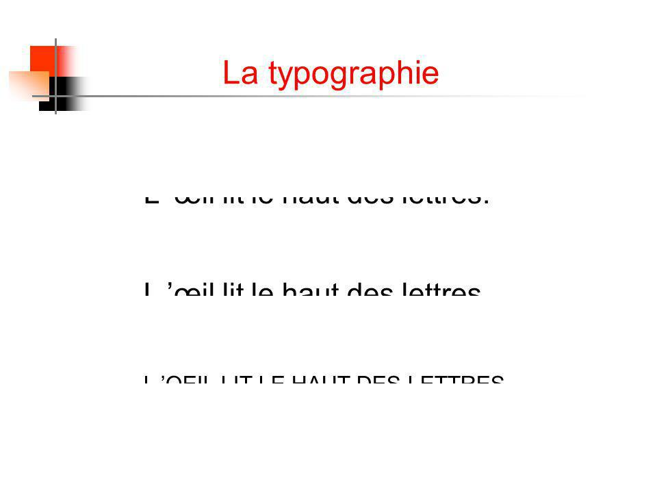 La typographie L œil lit le haut des lettres. L OEIL LIT LE HAUT DES LETTRES