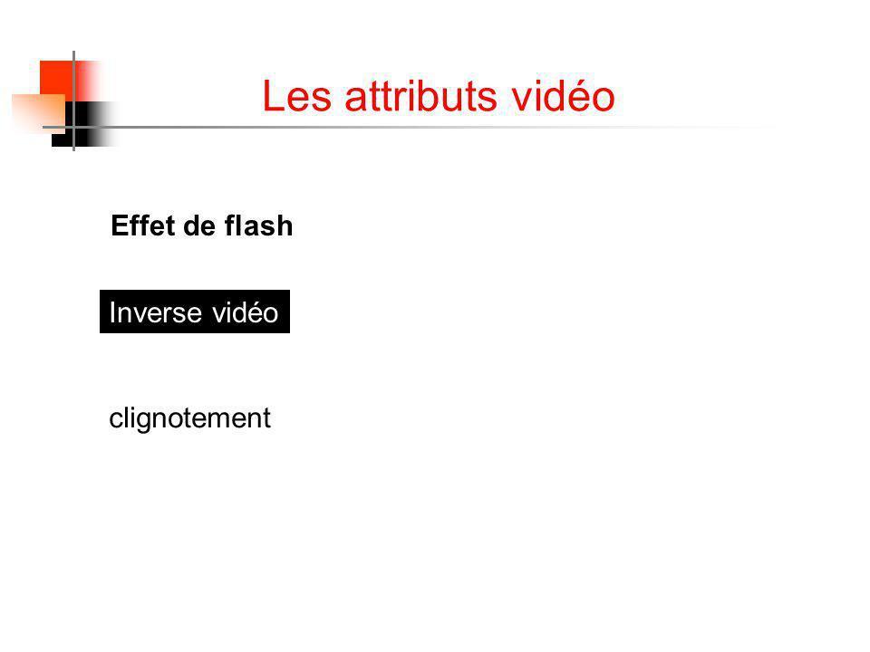 Les attributs vidéo Effet de flash Inverse vidéo Effet de flash clignotement
