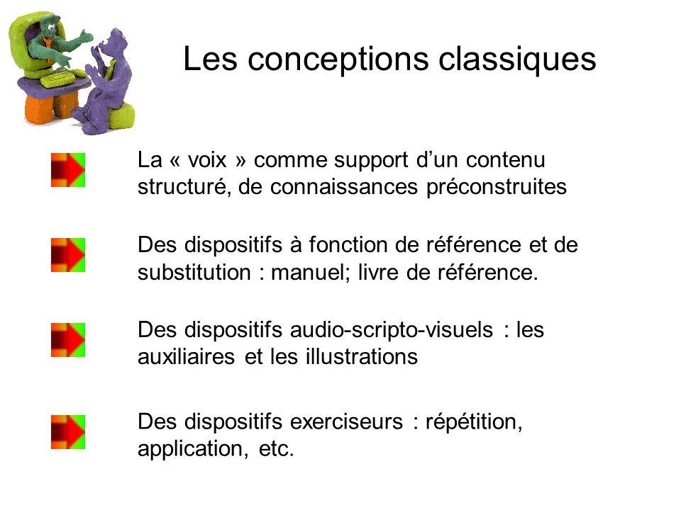 Les conceptions classiques La « voix » comme support dun contenu structuré, de connaissances préconstruites Des dispositifs à fonction de référence et de substitution : manuel; livre de référence.