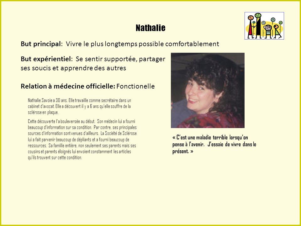 Nathalie Le souci principal de Nathalie nest pas la guérison, parce quelle sait que cest une condition chronique.