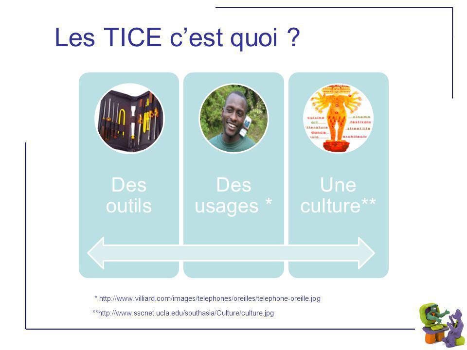 Les TICE cest quoi ? * http://www.villiard.com/images/telephones/oreilles/telephone-oreille.jpg **http://www.sscnet.ucla.edu/southasia/Culture/culture
