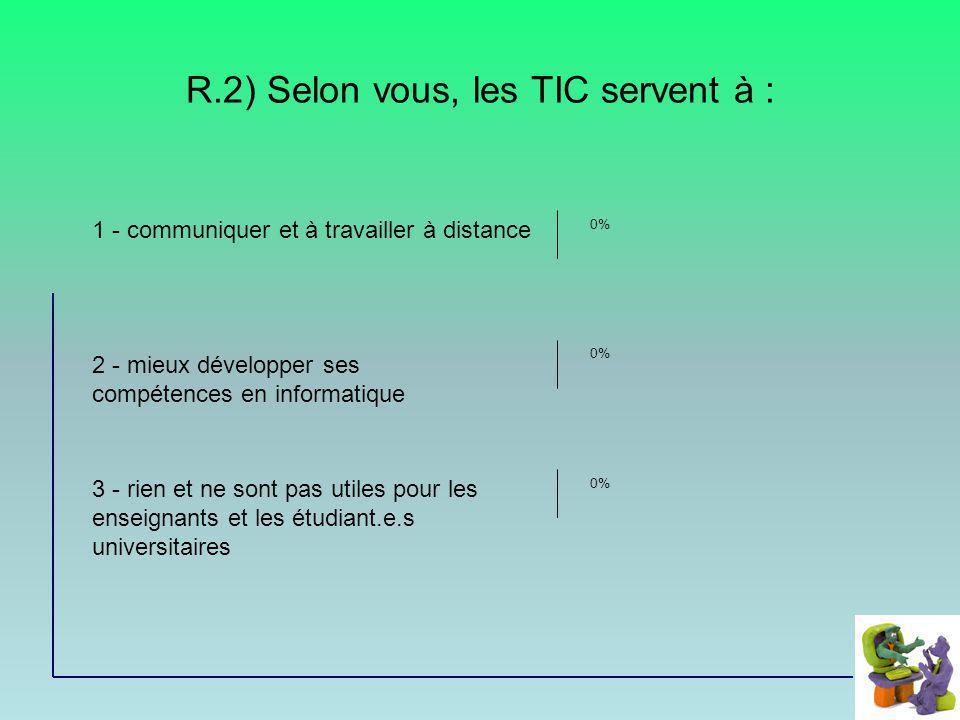R.2) Selon vous, les TIC servent à : 1 - communiquer et à travailler à distance 2 - mieux développer ses compétences en informatique 3 - rien et ne so