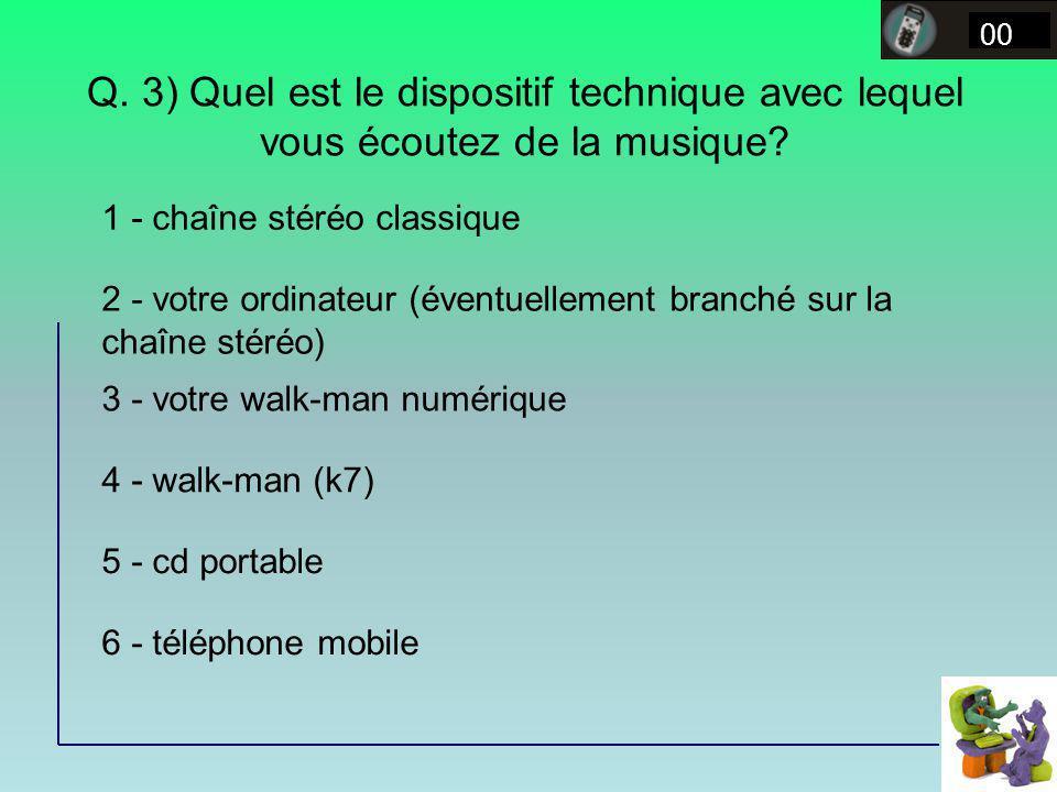 Q. 3) Quel est le dispositif technique avec lequel vous écoutez de la musique? 00 1 - chaîne stéréo classique 2 - votre ordinateur (éventuellement bra