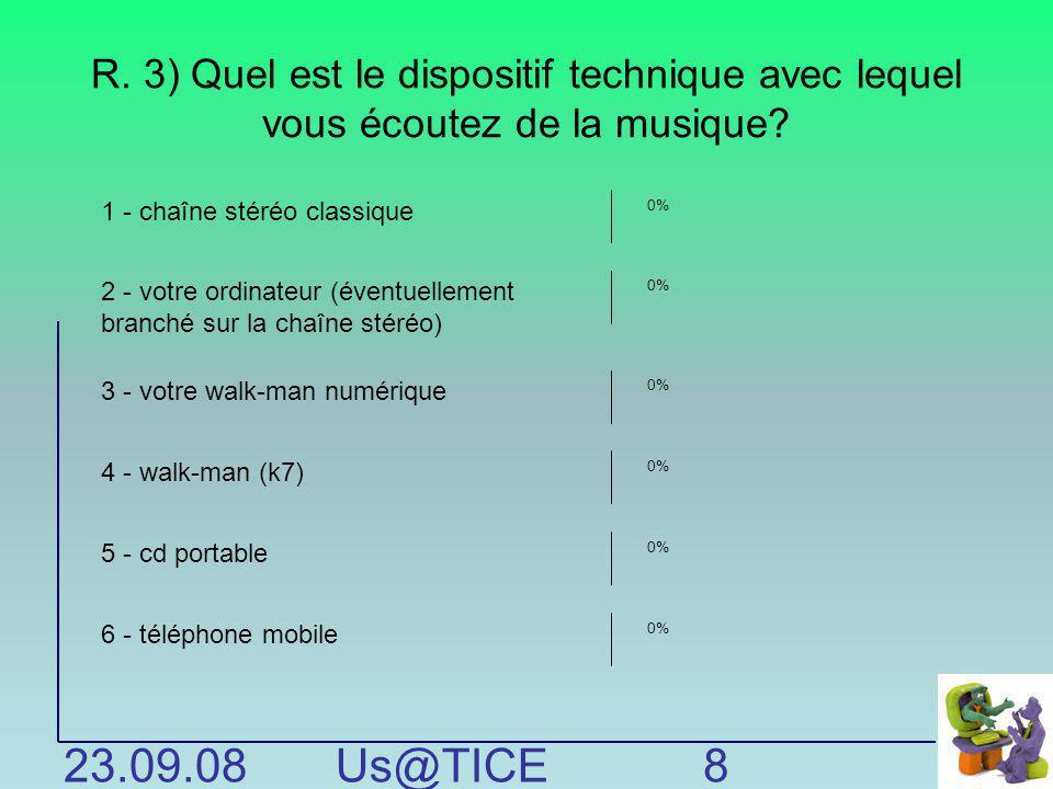 R. 3) Quel est le dispositif technique avec lequel vous écoutez de la musique? 23.09.08Us@TICE Période 1 8 1 - chaîne stéréo classique 2 - votre ordin