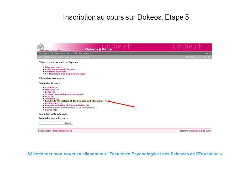 Inscription au cours sur Dokeos: Etape 5 Sélectionner mon cours en cliquant sur