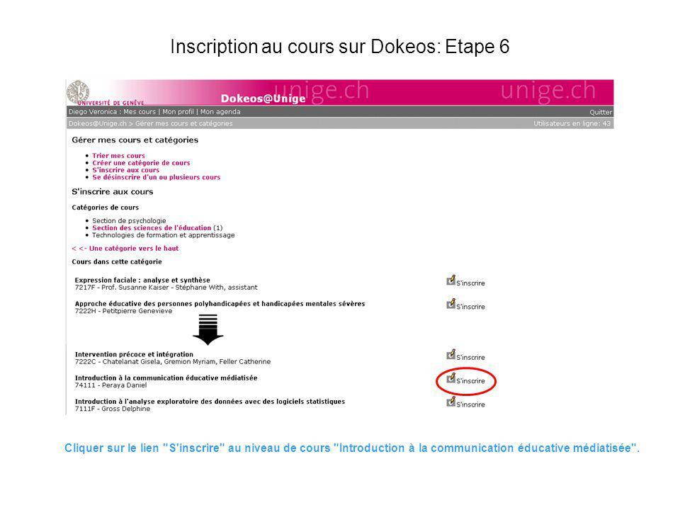 Inscription au cours sur Dokeos: Etape 6 Cliquer sur le lien