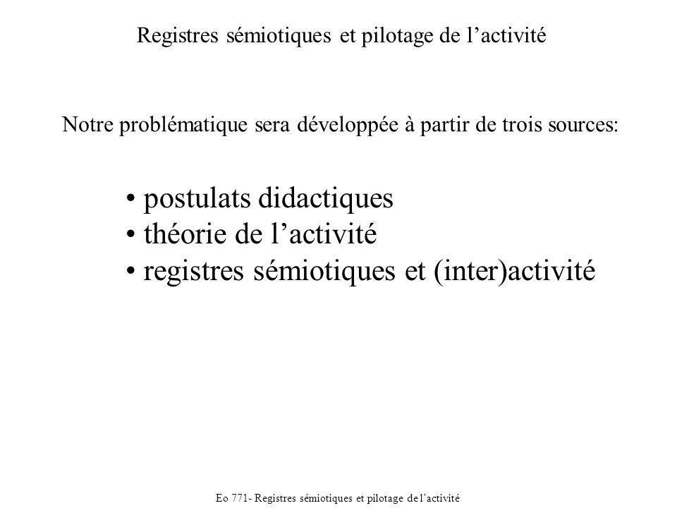 Eo 771- Registres sémiotiques et pilotage de lactivité Registres sémiotiques et pilotage de lactivité postulats didactiques théorie de lactivité registres sémiotiques et (inter)activité Notre problématique sera développée à partir de trois sources: