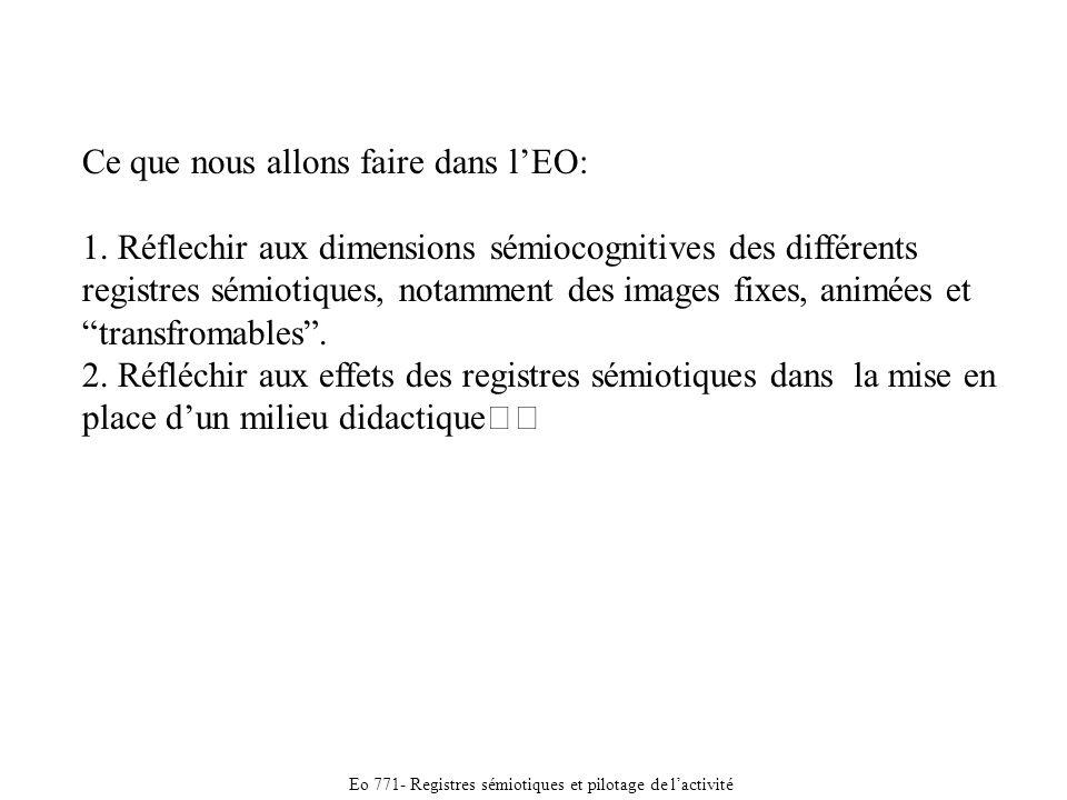 Eo 771- Registres sémiotiques et pilotage de lactivité Ce que nous allons faire dans lEO: 1.