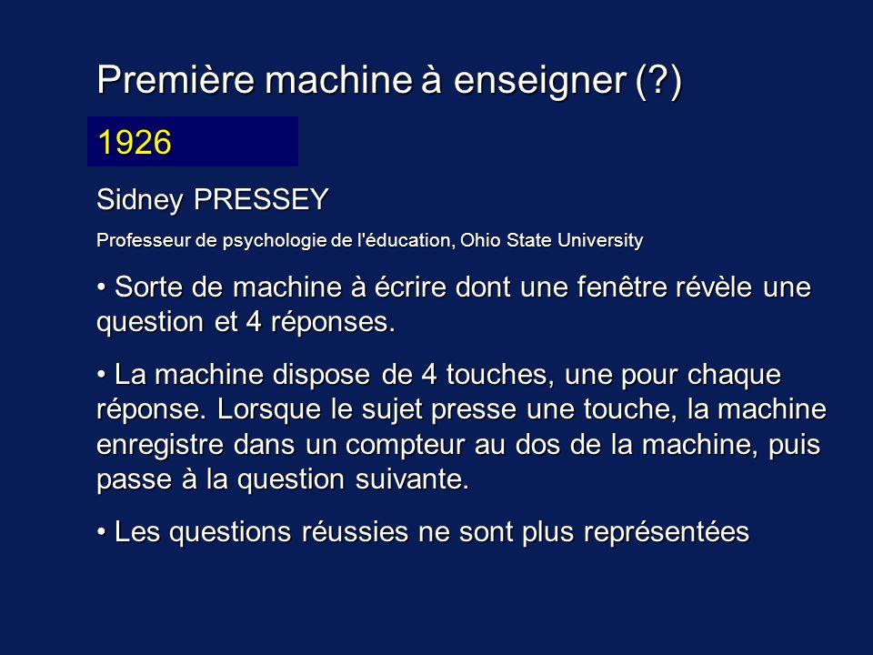 Première machine à enseigner (?) 19?? Sidney PRESSEY Professeur de psychologie de l'éducation, Ohio State University Sorte de machine à écrire dont un