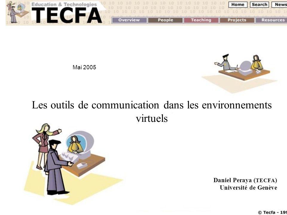 Mai 2005 D. Peraya, TECFA Cours 74111 et Cofor 2 Les outils de communication dans les environnements virtuels Daniel Peraya ( TECFA ) Université de Ge