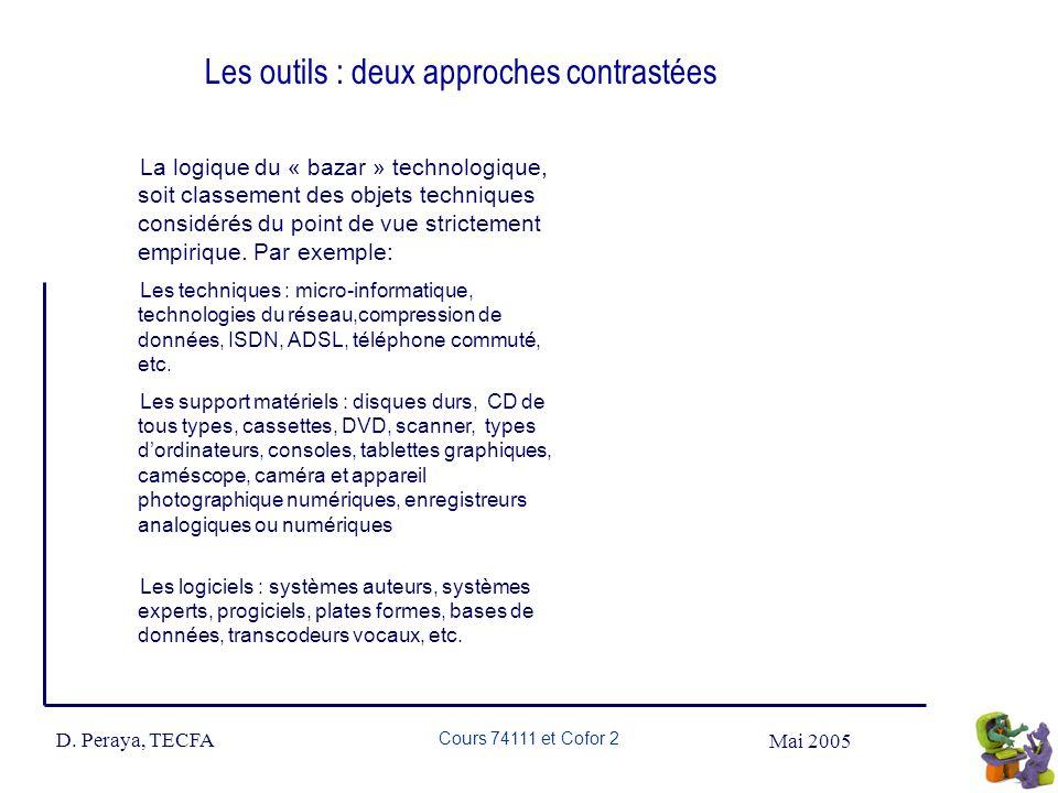 Mai 2005 D. Peraya, TECFA Cours 74111 et Cofor 2 Les outils : deux approches contrastées La logique du « bazar » technologique, soit classement des ob