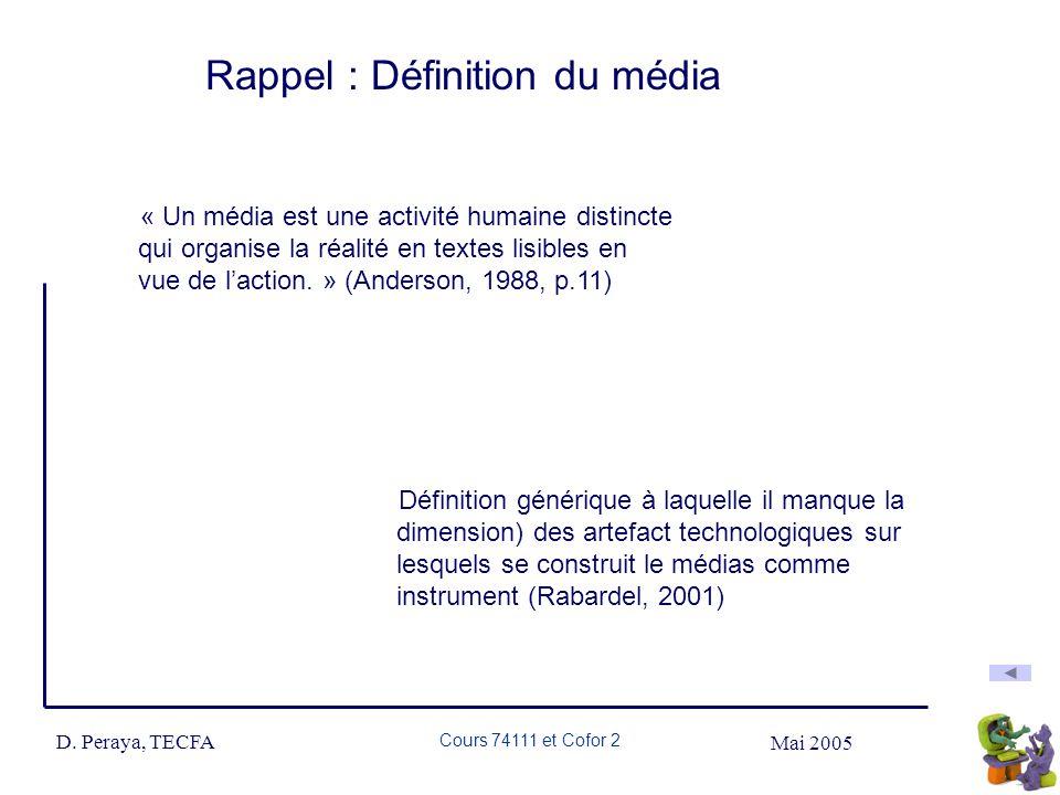 Mai 2005 D. Peraya, TECFA Cours 74111 et Cofor 2 Rappel : Définition du média « Un média est une activité humaine distincte qui organise la réalité en