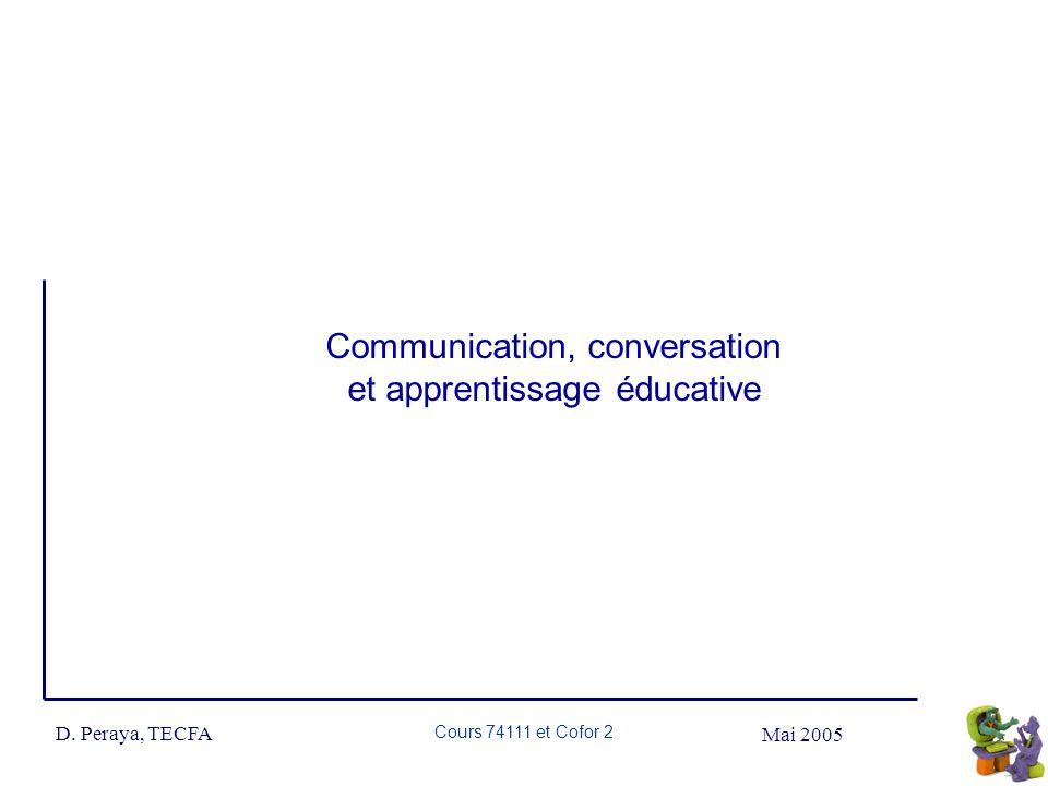 Mai 2005 D. Peraya, TECFA Cours 74111 et Cofor 2 Communication, conversation et apprentissage éducative