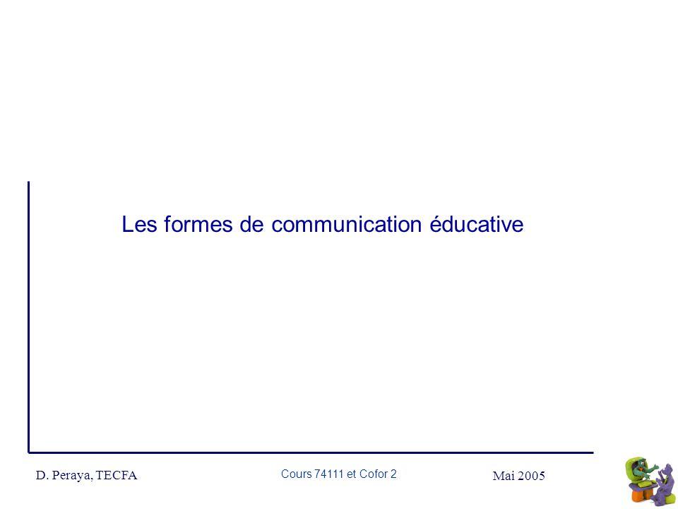 Mai 2005 D. Peraya, TECFA Cours 74111 et Cofor 2 Les formes de communication éducative