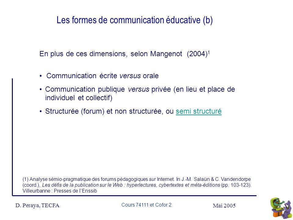 Mai 2005 D. Peraya, TECFA Cours 74111 et Cofor 2 Les formes de communication éducative (b) En plus de ces dimensions, selon Mangenot (2004) 1 Communic