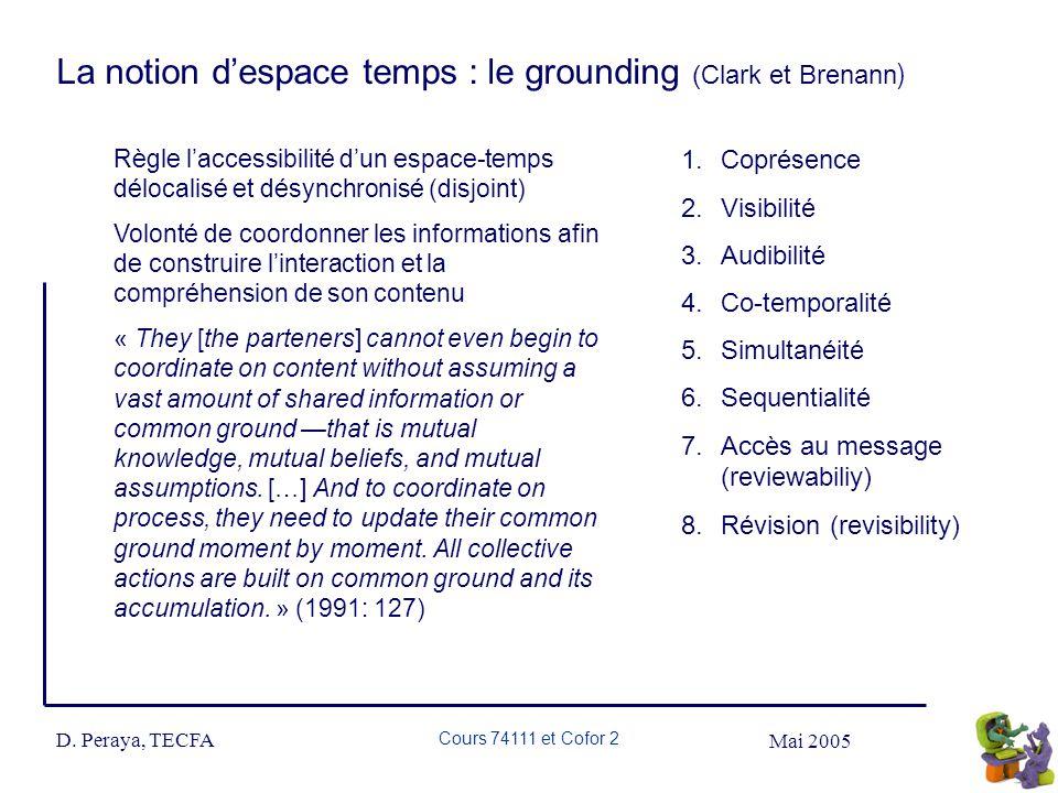 Mai 2005 D. Peraya, TECFA Cours 74111 et Cofor 2 La notion despace temps : le grounding (Clark et Brenann ) Règle laccessibilité dun espace-temps délo