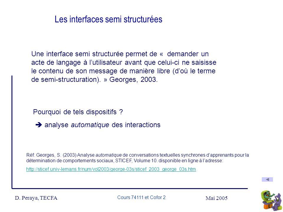 Mai 2005 D. Peraya, TECFA Cours 74111 et Cofor 2 Les interfaces semi structurées Une interface semi structurée permet de « demander un acte de langage
