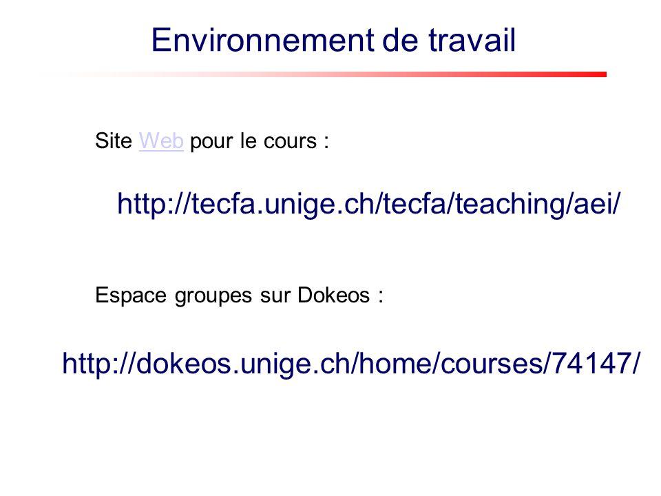 http://tecfa.unige.ch/tecfa/teaching/aei/ Site Web pour le cours :Web http://dokeos.unige.ch/home/courses/74147/ Espace groupes sur Dokeos : Environne
